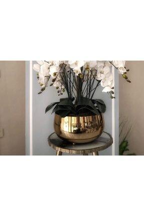 Hazella Home Büyük Gold Metal Orkide Saksısı Vazo 1