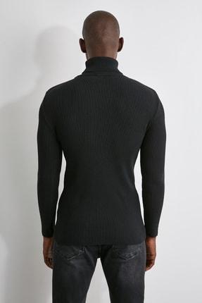 TRENDYOL MAN Siyah Erkek Slim Fit Lastik Örgü Balıkçı Yaka Triko Kazak TMNAW20MG0031 4