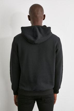 TRENDYOL MAN Siyah Erkek Baskılı Kapüşonlu Regular Sweatshirt TMNAW21SW0671 4