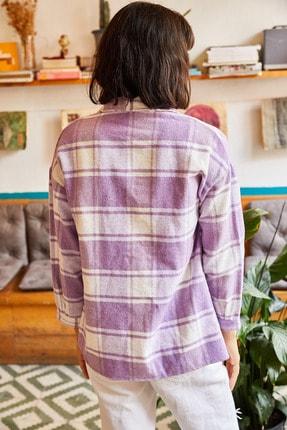 Olalook Kadın Lila Tek Cepli Oduncu Gömlek GML-19000707 1