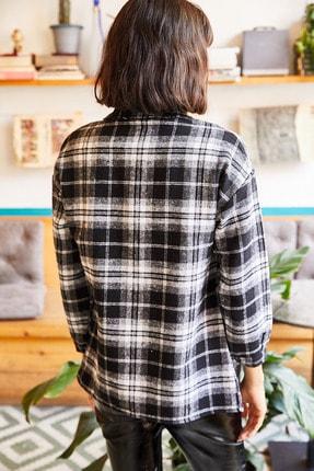 Olalook Kadın Siyah Tek Cepli Oduncu Gömlek GML-19000707 1