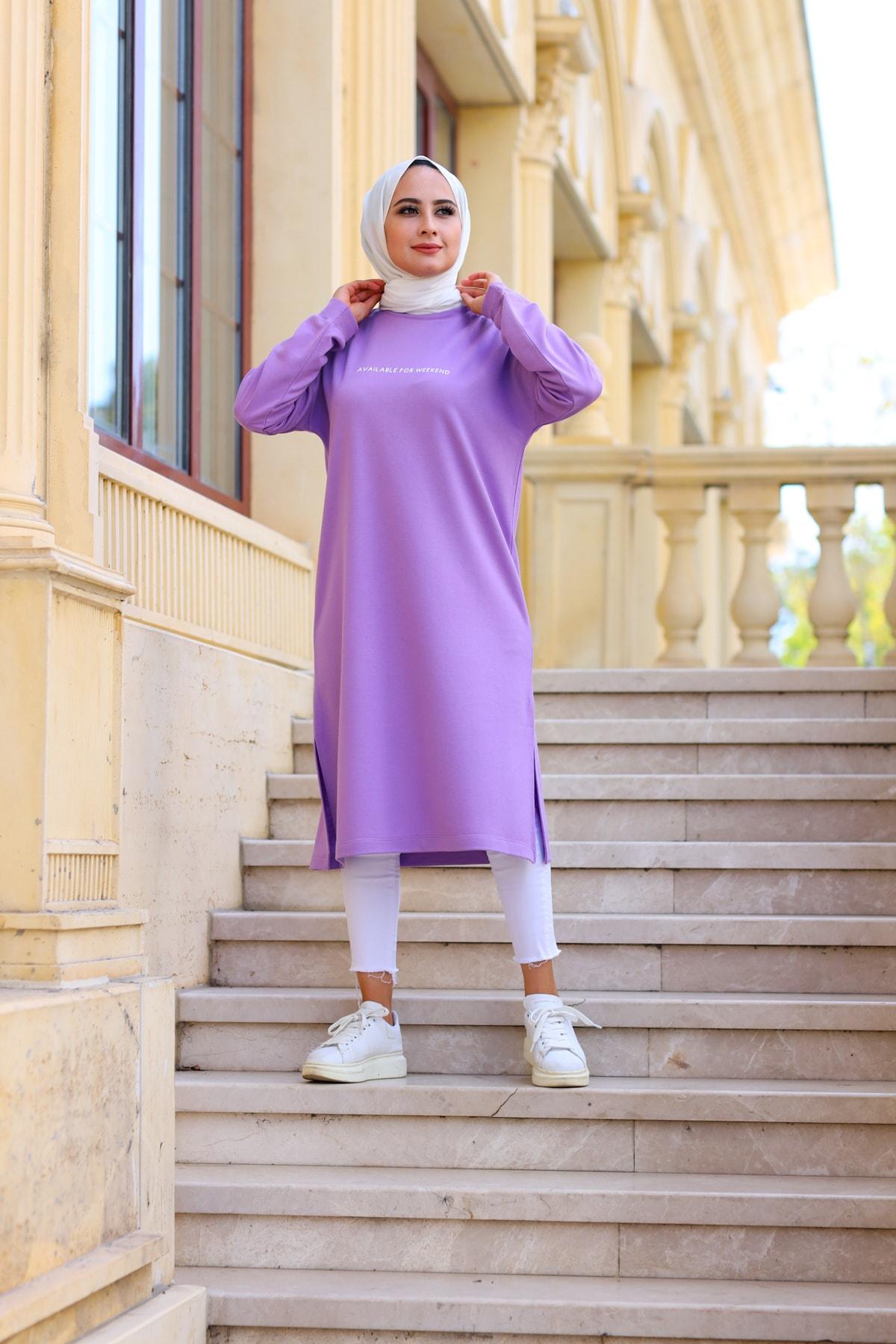 Kadın Mor Baskılı Uzun Sweatshirt