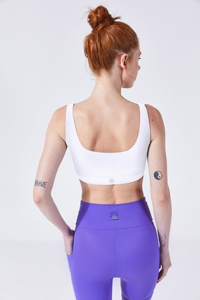 VAYU Kadın Beyaz Athena Fermuarlı Yoga ve Pilates Sporcu Sütyeni 2