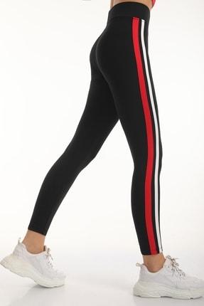MD trend Kadın Siyah Şeritli Yüksek Bel Toparlayıcı Tayt/kırmızı/xl 2
