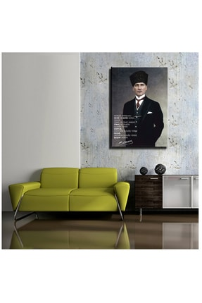 mağazacım Atatürk Takım Elbiseli Portre (60x80 Cm) Kanvas Tablo Tbl1194 1