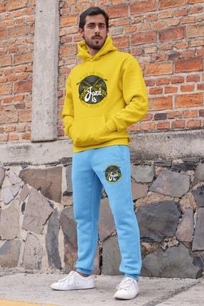 Angemiel Erkek Sarı Wear Jazz ve Saksafon Eşofman Takımı Kapüşonlu Sweatshirt Mavi Eşofman Altı 0