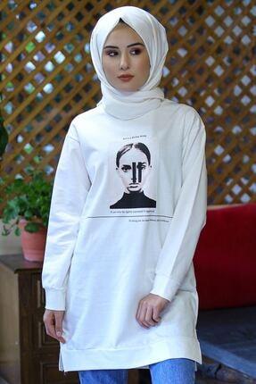 Nirvana Kadın Beyaz Iki Iplik Baskılı Tunik 2