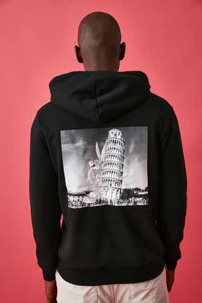 TRENDYOL MAN Siyah Erkek Lisanslı Regular Fit Sweatshirt 4
