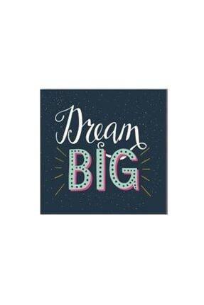 Deniz Çerçeve & Tuval Vintage Dream Big Yazısı Tablosu Kahverengi Ahşap Çerçeve-80x80 0