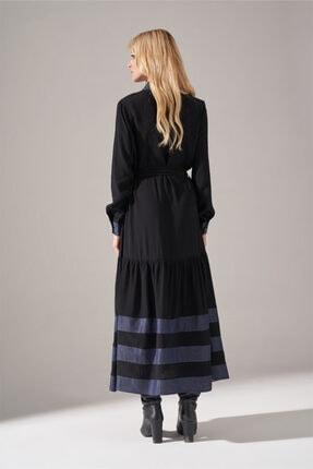 Mizalle Kadın Siyah Denim Detaylı Gömlek Elbise 1