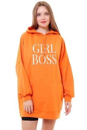 misismoda Kadın Turuncu Girl Boss Baskılı Oversize Sweatshirt 0