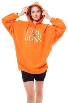 misismoda Kadın Turuncu Girl Boss Baskılı Oversize Sweatshirt 4