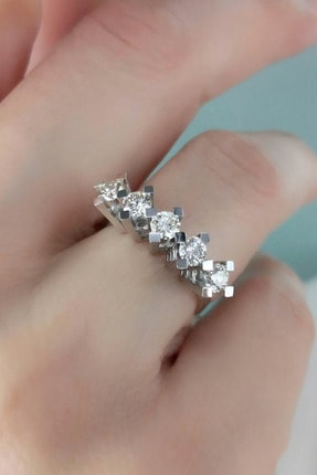 Crystal Diamond Zirconia Labaratuvar Pırlantası 1 Carat Beştaş Yüzük 0