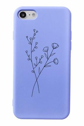 Mupity Minimal Çiçek Tasarımlı Lila Lansman Kılıf Iphone 7-8-se2020 Uyumlu 0