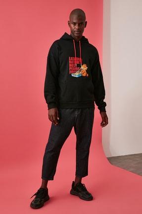 TRENDYOL MAN Siyah Erkek Baskılı Lisanslı Oversize Kapüşonlu Sweatshirt TMNAW21SW0565 3