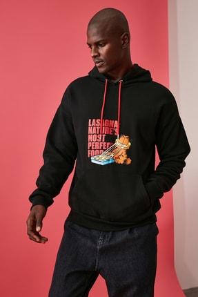 TRENDYOL MAN Siyah Erkek Baskılı Lisanslı Oversize Kapüşonlu Sweatshirt TMNAW21SW0565 1