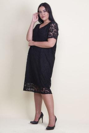Şans Kadın Siyah V Yaka Astarlı Dantel Elbise 65N18221 1