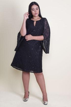 Şans Kadın Siyah Öpücük Yaka Astarlı Dantel Elbise 65N18224 1