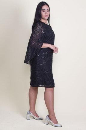 Şans Kadın Siyah Öpücük Yaka Astarlı Dantel Elbise 65N18224 3