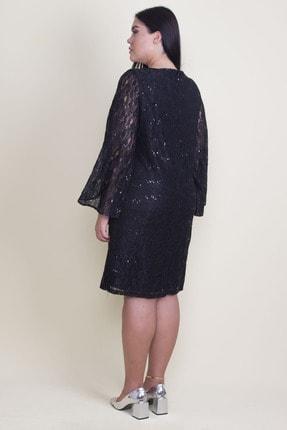 Şans Kadın Siyah Öpücük Yaka Astarlı Dantel Elbise 65N18224 4