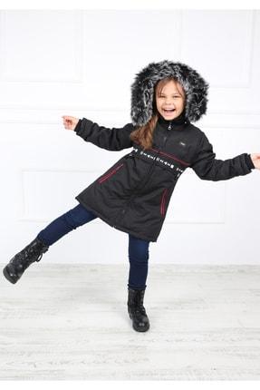 B&T Kız Çocuk Siyah Peluşlu Şık  Kaban Mont 0