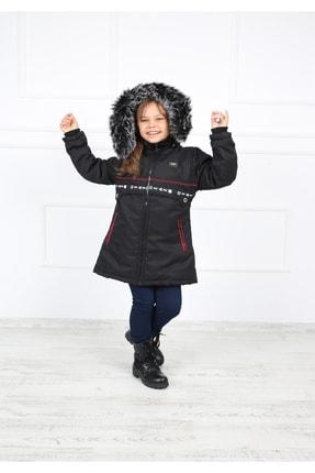 B&T Kız Çocuk Siyah Peluşlu Şık  Kaban Mont 2