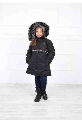 B&T Kız Çocuk Siyah Peluşlu Şık  Kaban Mont 4