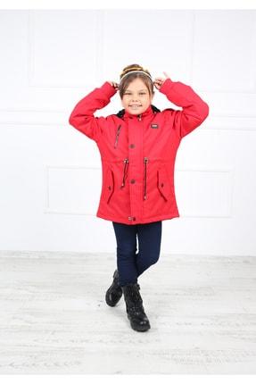B&T Kız Çocuk  Kırmızı Peluşlu Kaban Mont 2