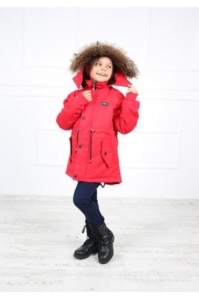B&T Kız Çocuk  Kırmızı Peluşlu Kaban Mont 3