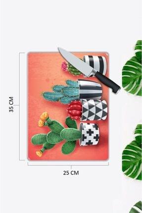 Pi Dekorasyon Sevimli Kaktüsler 25X 35 cm Cam Kesme Tahtası 1