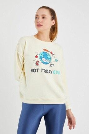 Yukimay Newyork Kadın Ekru Sweatshirt 1