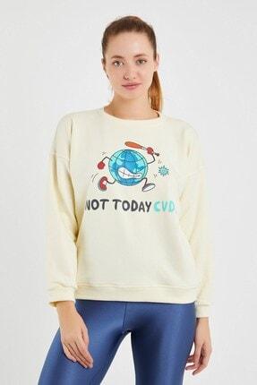 Yukimay Newyork Kadın Ekru Sweatshirt 2