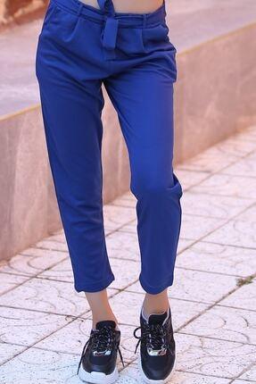 HN TEKSTİL Kadın Gece Mavisi Beli Bağlamalı Pantolon 1