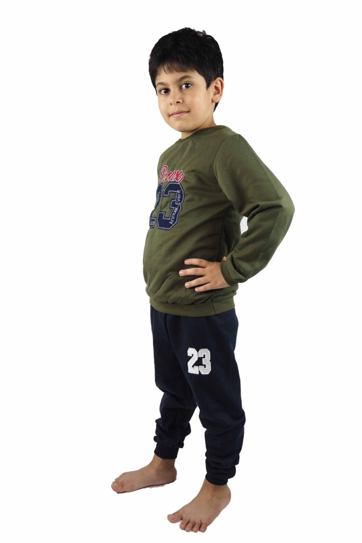 Bluence Erkek Çocuk Haki Nakışlı Şardonlu  Eşofman Takımı