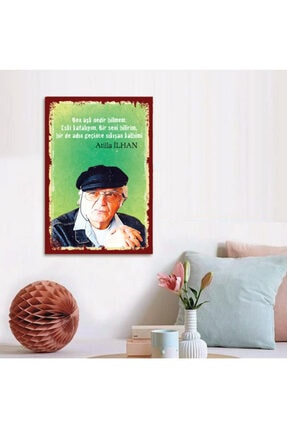 FERMAN HEDİYELİK Atilla Ilhan Ahşap Retro Poster-2 17,5x27,5 Cm 0