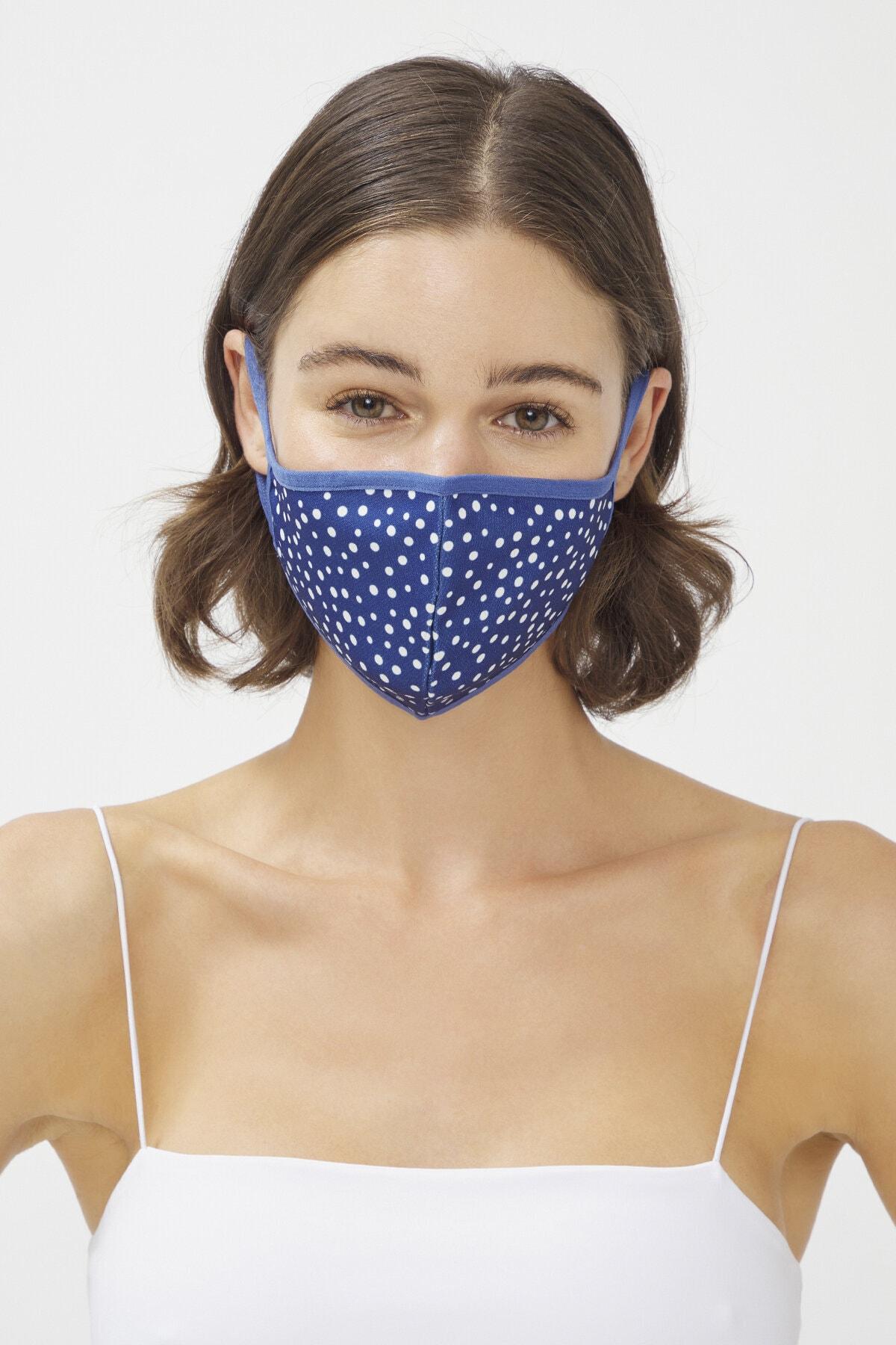 Penti Lacivert Unisex Navy Dots Maske 1