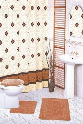 VONALDI HOME Kahverengi Bezeme Çift Kanat Banyo Perdesi 2x120x200cm 0