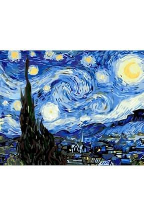 3D Art Sayılarla Boyama Tablo Seti Kanvas Fırça Boya Dahil 45x55 cm - Van Gogh Yıldızlı Gece 0