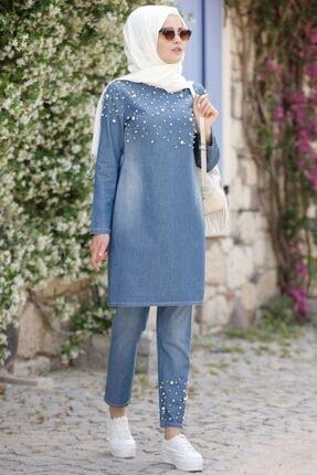 Kadın Mavi Tesettür Takım İnci Kot AD7497