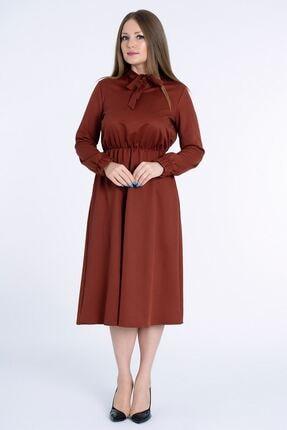 MissVina Kadın Kiremit Yakası Bağcıklı Kolu Lastikli Elbise K5954 0