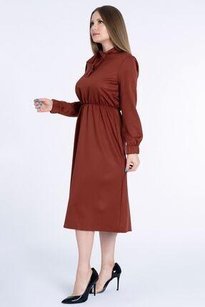 MissVina Kadın Kiremit Yakası Bağcıklı Kolu Lastikli Elbise K5954 1