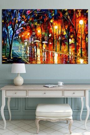 Nazenin Design Sonbahar Yağmur Altında Yürüyüş Pastel Kanvas Tablo 100x70 cm 0