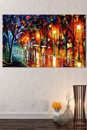Nazenin Design Sonbahar Yağmur Altında Yürüyüş Pastel Kanvas Tablo 100x70 cm 1