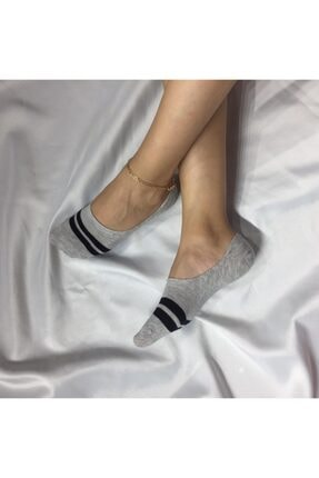 Adel Kadın Gri Bambu Dikişsiz Silikonlu Babet Çorap 0