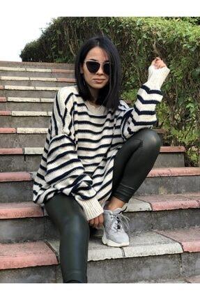 MY DEPO Kadın Çizgili Salaş Kazak 3