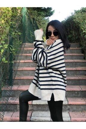 MY DEPO Kadın Çizgili Salaş Kazak 4