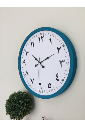 Platin Saat Turkuaz Ahşap Arapça Duvar Saati 36 cm 3