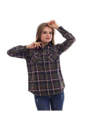 boffin Kadın Haki Ekose Oduncu Gömlek 1