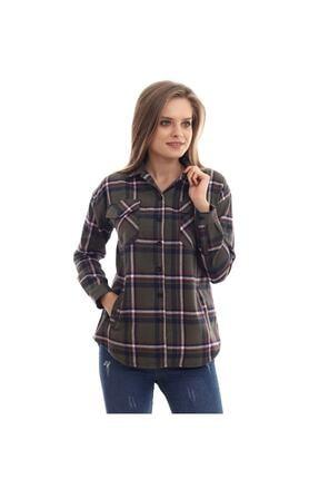 boffin Kadın Haki Ekose Oduncu Gömlek 4