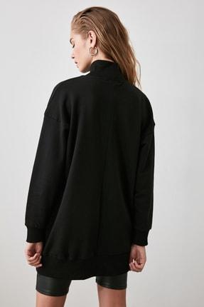 TRENDYOLMİLLA Siyah Fermuar Detaylı Oversize Örme Sweatshirt TWOAW20SW0322 4